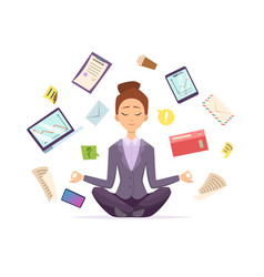 yoga business female character sitting in lotus vector image