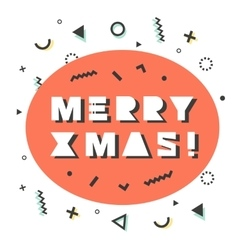 Merry Christmas card in retro 80s-90s style vector image vector image