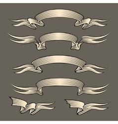 Retro engraving ribbons set vector image