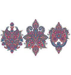 set of henna floral elements vector image vector image