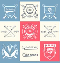 set of vintage baseball logos and badges vector image vector image