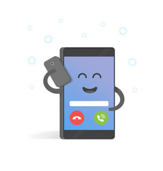 Smartphone talking on cell concept cute cartoon vector