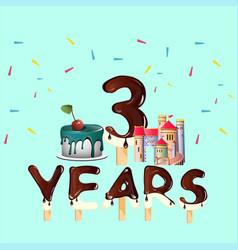 three years annyversary greeting card vector image