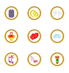 wedding things icons set cartoon style vector image vector image