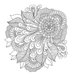 Zen-tangle floral pattern indian style vector