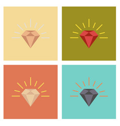 Assembly flat icons poker diamond symbol vector