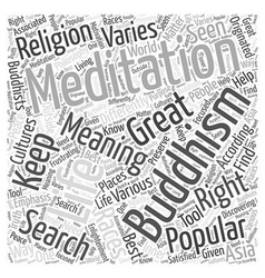 Buddhism meditation word cloud concept vector