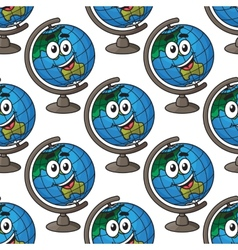 Happy cartoon globe seamless pattern vector