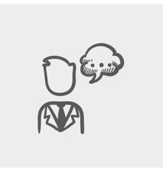 Man with speech bubble sketch icon vector image