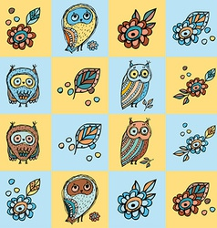 patchwork background with owls and flowers vector image