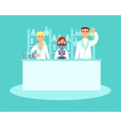 Scientists conducting research in laboratories vector image vector image