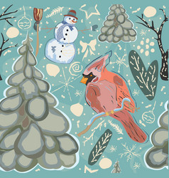 seamless winter pattern with cute cardinal bird vector image