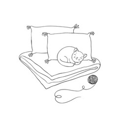 beautiful pillows and cat on a white background vector image vector image