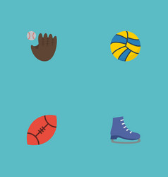 flat icons ice boot american football volleyball vector image vector image