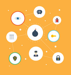 flat icons keypad padlock vision and other vector image