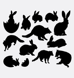 Rabbit activity animal silhouette vector image vector image