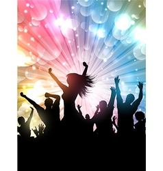 Silhouette of a party crowd on a starburst vector image
