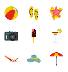 summer time icons set flat style vector image