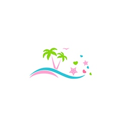 abstract beach palm tree love logo vector image vector image