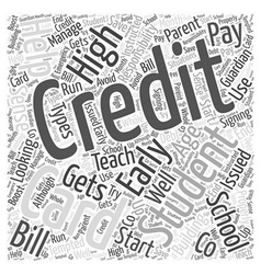 Credit Cards For High School Students Word Cloud vector image vector image