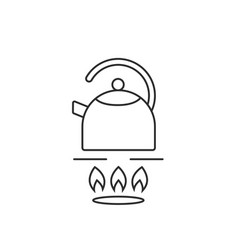thin line teapot on gas stove vector image