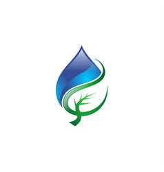 water drop leaf logo vector image vector image