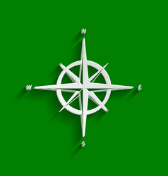 wind rose sign paper whitish icon with vector image