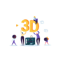 3d printing technology concept people characters vector