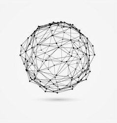 3d wireframe object deformed sphere consists of vector image