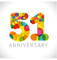 51 years anniversary circle colorful logo vector