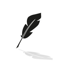 A pen feather of icon with reflection vector