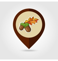 Acorn with leaf mapping pin icon vector image