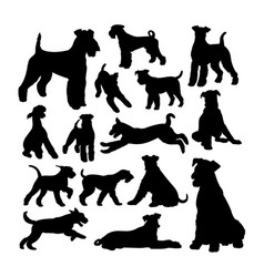 airedale terrier dog silhouettes vector image
