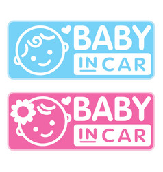 Baby boy and girl baby in car sticker vector