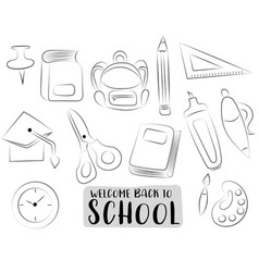 back to school icons set black and white outline vector image