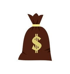 Big bag of money icon flat style vector