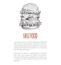 big freehand hamburger or cheeseburger fast food vector image