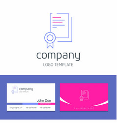 Business card design with certificates company vector
