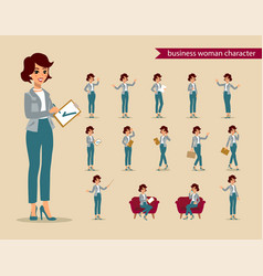 Businesswoman character set animate character vector