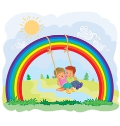 Carefree young children swinging on the rainbow vector