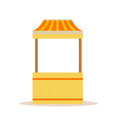 Carnival wooden booth with striped roof isolated vector
