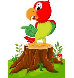 cartoon cute parrot on tree stump vector image