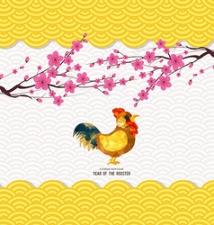 Chinese new year 2017 rooster and pattern vector