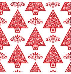 christmas tree folk art seamless pattern vector image