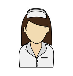 Colorful realistic image faceless female nurse vector