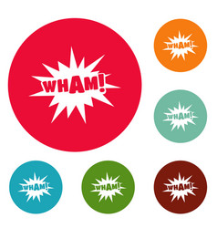 Comic boom wham icons circle set vector