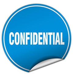 Confidential round blue sticker isolated on white vector