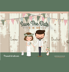 Couple rustic wedding invitation card vector image