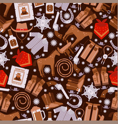 cowboy seamless pattern wild west icons wrapping vector image
