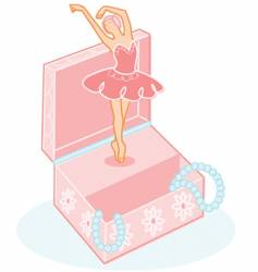 Cute ballerina jewelry box illustration vector